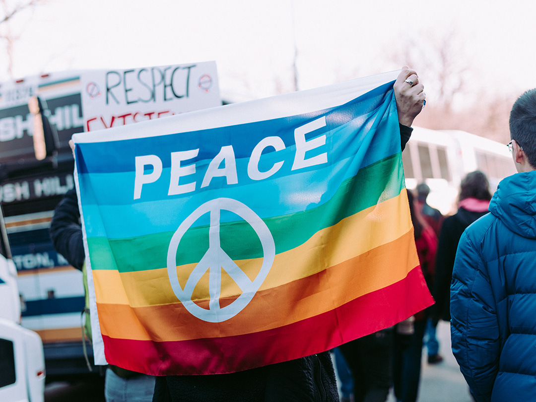 How much freedom do we have in Asia? - Editorial photo: Rainbow PEACE flag