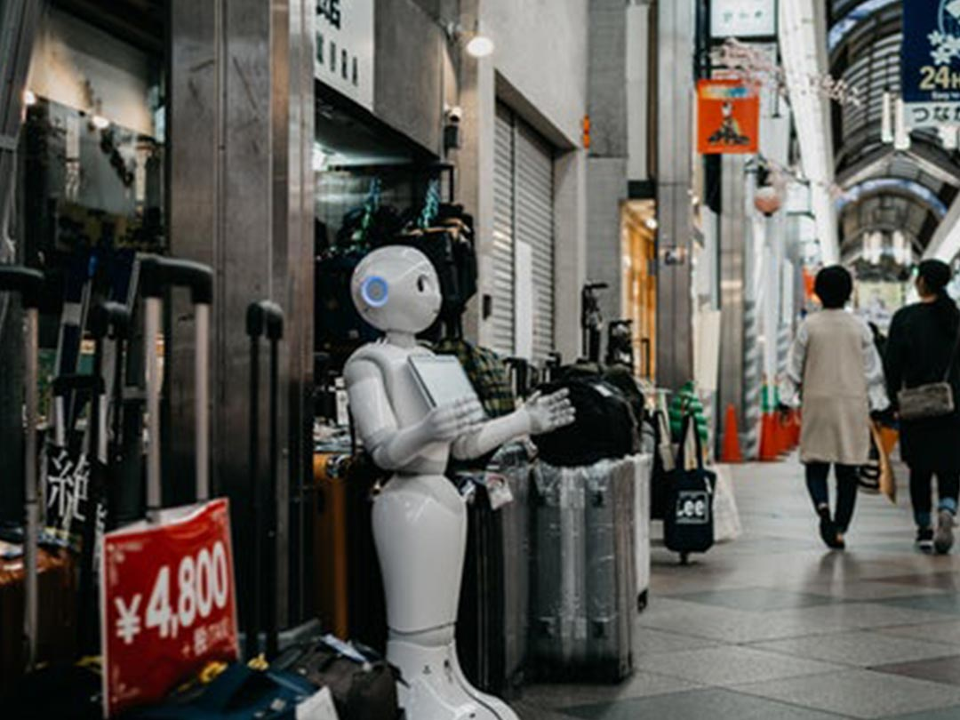 Editorial photo: Robot standing outside shop