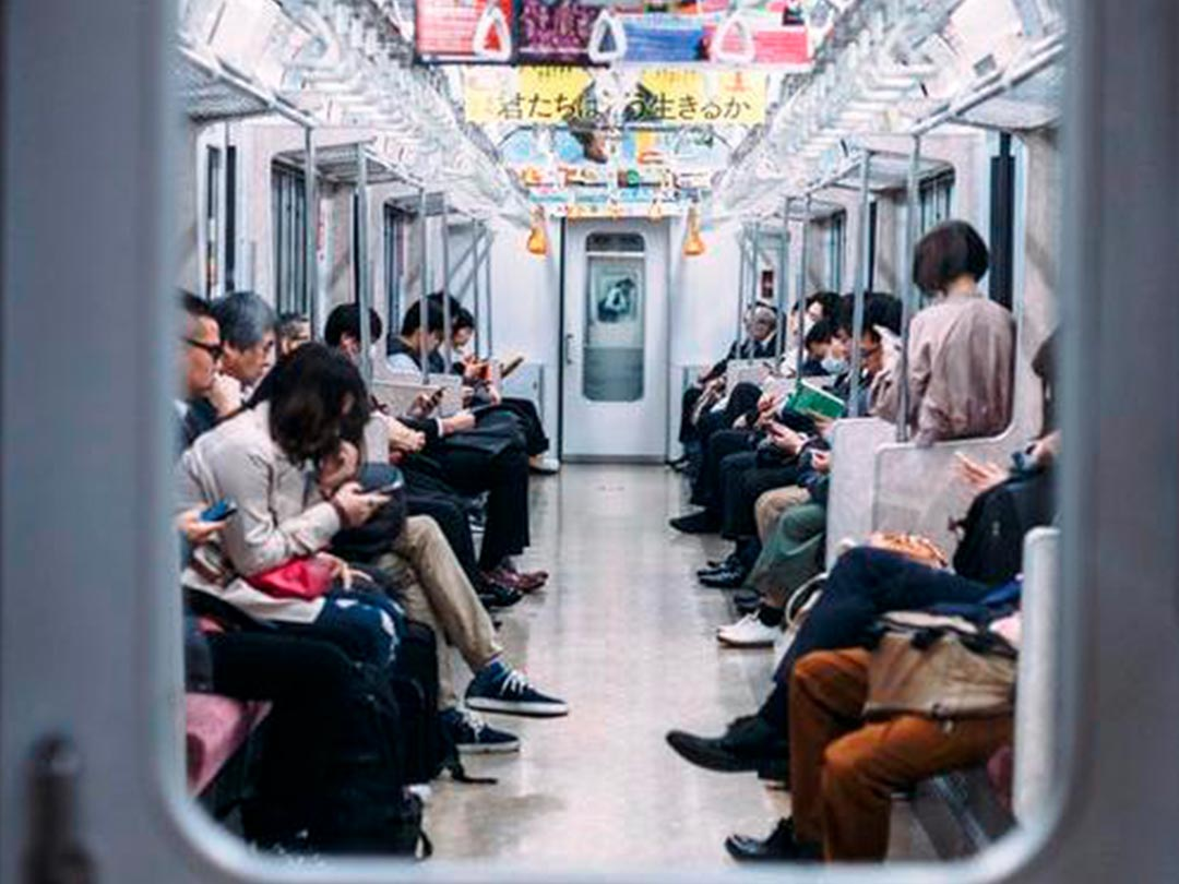 Editorial Photo: Passengers inside Japanese subway car