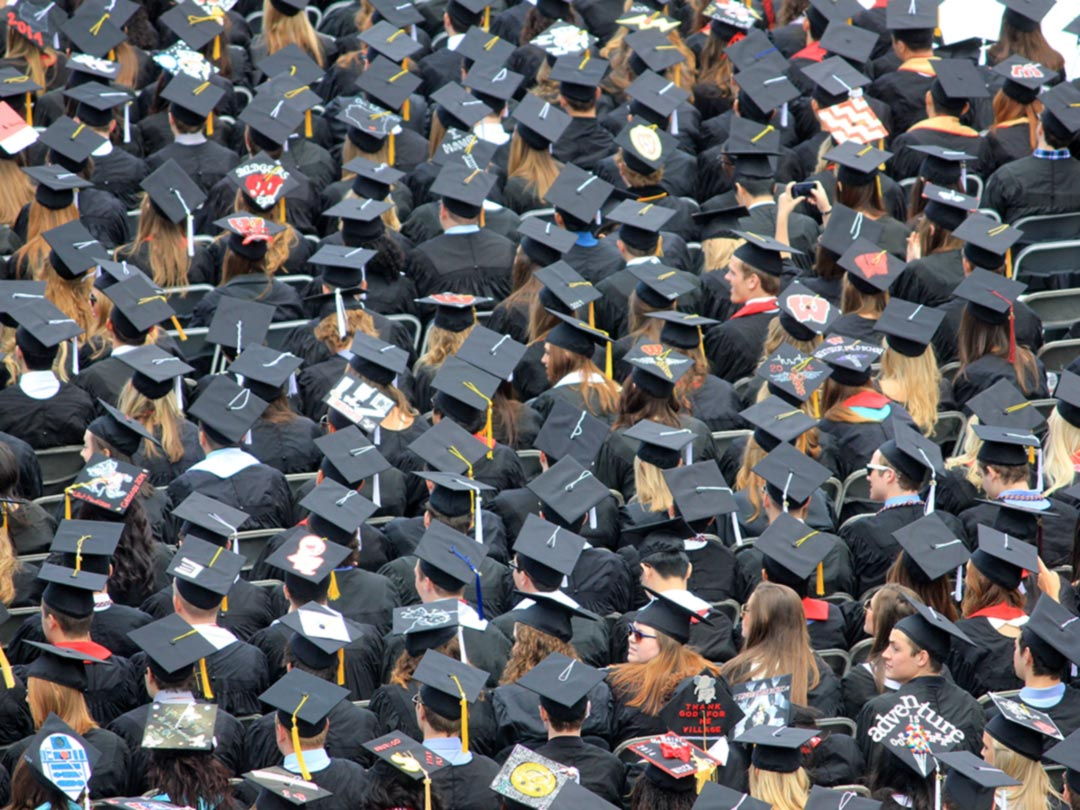 Photo: a sea of graduation caps