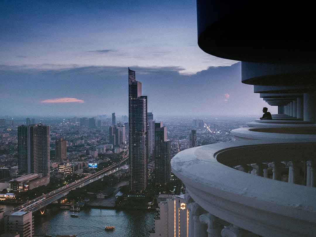 Editorial photo: Thailand cityscape from tall building perspective
