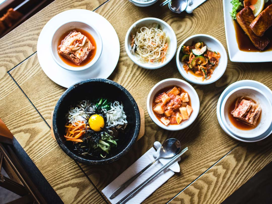 Photo: Top view of Korean food dishes